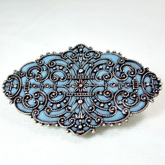 Blue pin brooch silver antique victorian jewelry unique gifts for her custom made jewelry brooches pins for her