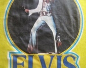 Vintage 77 ELVIS PRESLEY The King Lives On Iron On Yellow Tshirt