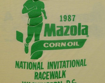 Vintage 80s 1987 MAZOLA Corn Oil USA OLYMPIC Team Yellow T shirt