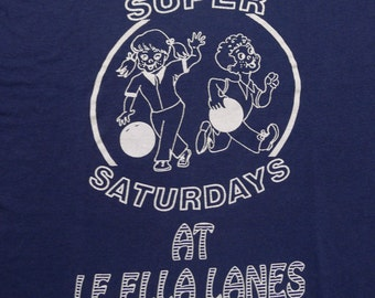 Vintage 80s Super SATURDAYS At LE ELLA Lanes Blue T Shirt