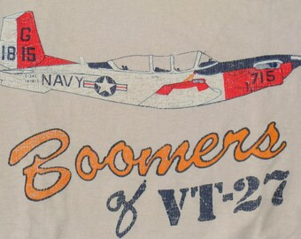 Vintage 80s  BOOMERS Of  VT-27 NAVY Tshirt