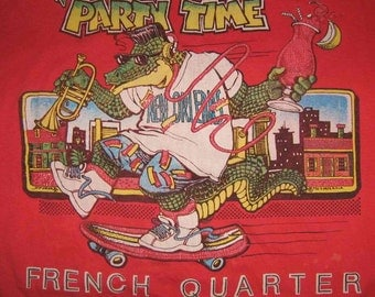 Vintage 80s New Orleans French Quarter Party Time Red T Shirt