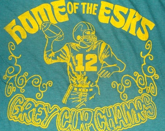 Vintage 80s Home Of The Esks Grey Cup Champs Edmonton Eskimos Football Green T Shirt