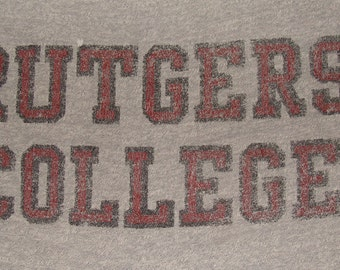 Vintage 80s Rutgers College Grey T-Shirt