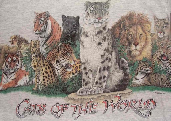 Vintage 92 Cats Of The World Extinction is Forever Maui Light Gray T Shirt