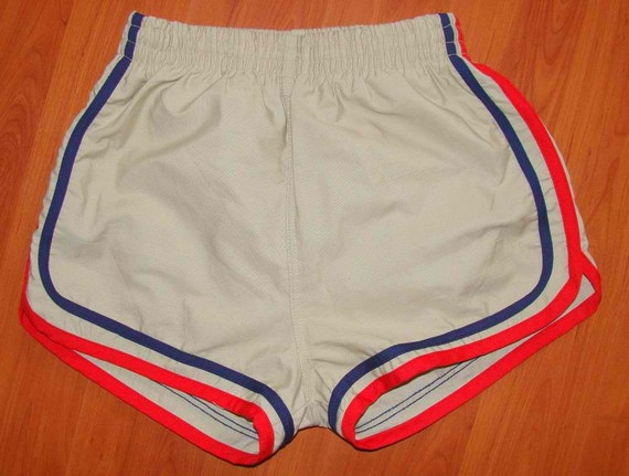 Vintage 80s Mocha Retro Shorts with Red & Blue Lines