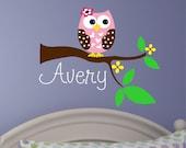 Baby Girl Wall Decal - Name Wall Decal - Owl Tree Decal - Nursery Decor - Nursery Wall Decal - Girls Name Decal