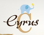 Elephant Wall Decal - Name Wall Decal - Boys Name Decal - Nursery Decor - Elephant Decor -Personalized Decal