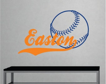 Boys Name Baseball Decal - Name Wall Decal - Sports Wall Decal - Sports Vinyl Wall Art - Baseball Decor