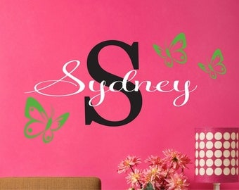 Childrens Decor -Name Wall Decal - Teen Name Decals - Childrens Wall Decals - Butterflies Vinyl Wall Decal with Name
