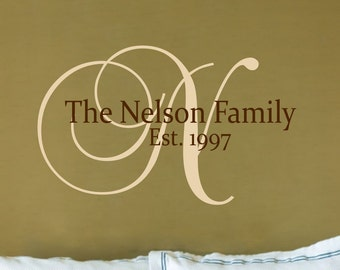 Custom Family Name Wall Decal // Customized Monogram Decal // Family Name Decal // Established Date  // Family Sign // Wedding Decal