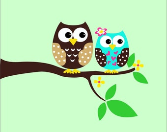 Owl Wall Decals - Childrens Wall Decals - Tree Decal - Playroom  Decor