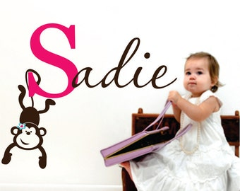 Childrens Wall Decal Personalized Name with Monkey - Name Wall Decal - Girls Name Children's decor Jungle Monkey.