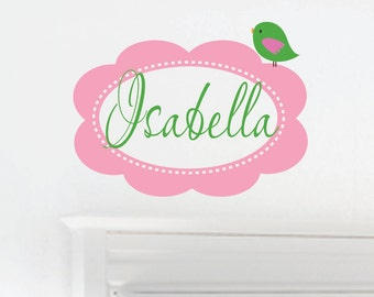 Baby Nursery Decor  - Name Wall Decal - Girls Name Wall Decals - Bird Vinyl Wall Decals - Nursery Wall Decal