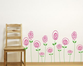 Childrens wall decals - Flower Decals -  Doodle Flowers - Kids Decor - children's Wall art -