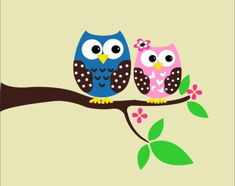 Owl Wall Decals - Childrens Wall Decals - Nursery Vinyl Wall Lettering