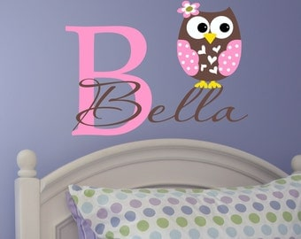 Custom Girls Name With Owl Decal // Personalized Name // Monogram // Girls Custom Name // Nursery Vinyl Decal // Owl Decal // Wall Decal