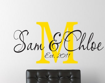 Personalized Name Wall Decal // Name Wall Decal // Family Name Wall Decals // Custom Monogram // Great for Wedding Decor