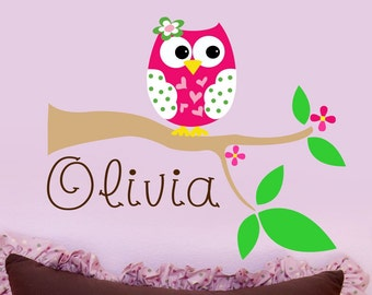 Custom Girls Name With Owl Wall Decal // Personalized Name Decal // Nursery Wall Decal // Owl Wall Art // Owl On Tree Branch