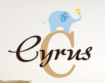 Custom Boys Name With Elephant Decal // Name Wall Decal // Monogram Letter // Nursery Decal // Elephant Vinyl Decal // Boys Bedroom Decal