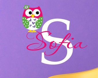 Custom Girls Name With Owl Decal // Monogram Decal // Girls Custom Name // Nursery Vinyl Decal // Custom Monogram // Owl Wall Decal
