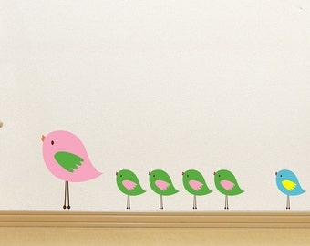 Bird Wall Decal - Nursery Decor - Cute Birds Vinyl Wall Art - Bird Wall Art