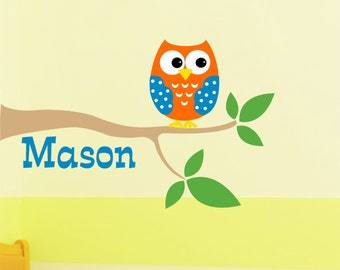 Childrens Decor Boys Owl with name Vinyl Wall Decal - Name Wall Decal - Kids Wall Art - Owl Vinyl Wall Decal on Branch
