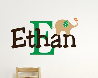 Elephant Wall Decals - Name Wall Decal - Childrens Wall Decal - Elephant Nursery Decor