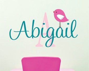 Childrens Name Wall Decal  with cute bird - Name Wall Decal - for Baby girl or boy nursery or bedroom