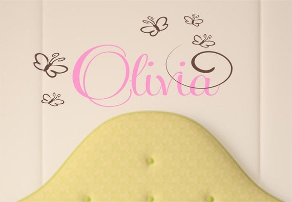 Children Wall  Decal  - Name Wall Decal - Nursery Vinyl Wall Decal - Butterfly Wall Decal