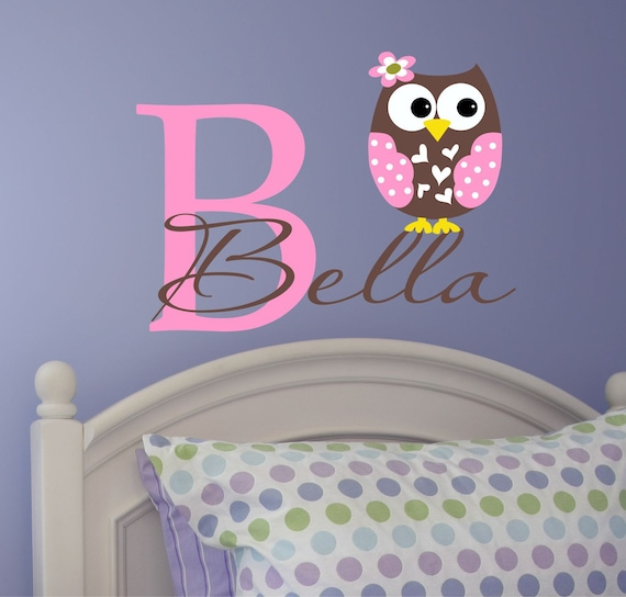 Personalized Owl Wall Decal - Name Wall Decal - Childrens Vinyl Wall Lettering - Owl Wall  Art