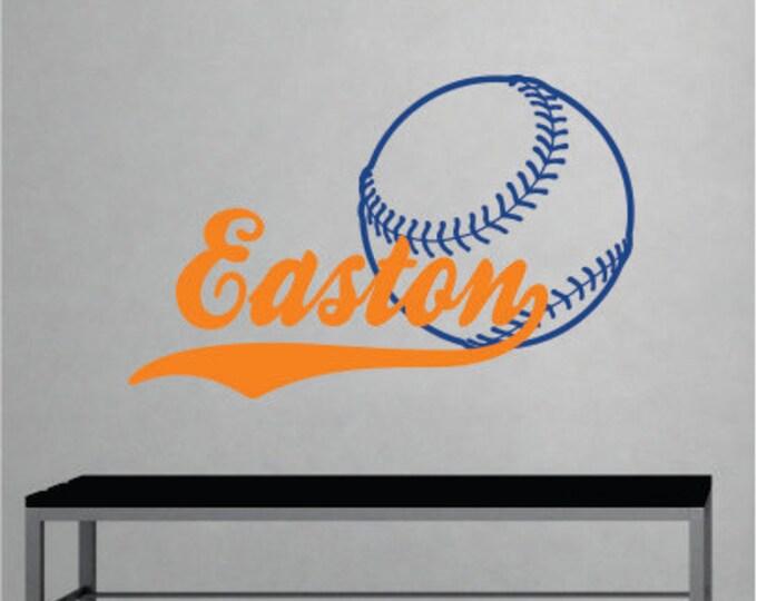 Boys Name Baseball Decal - Name Wall Decal - Sports Wall Decal - Sports Vinyl Wall Art - Baseball Decor