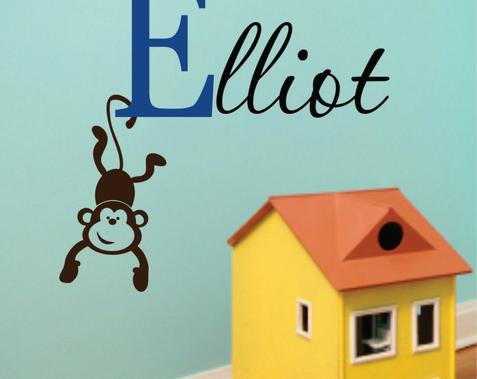Personalized Childrens Decor  Name Wall Decal - Monkey Wall Decal Nature Wall Decals - Childrens Wall Decals