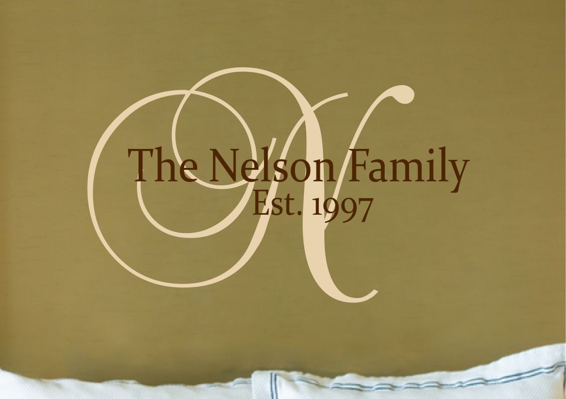 Custom family name wall decal customized monogram decal zoom amipublicfo Image collections