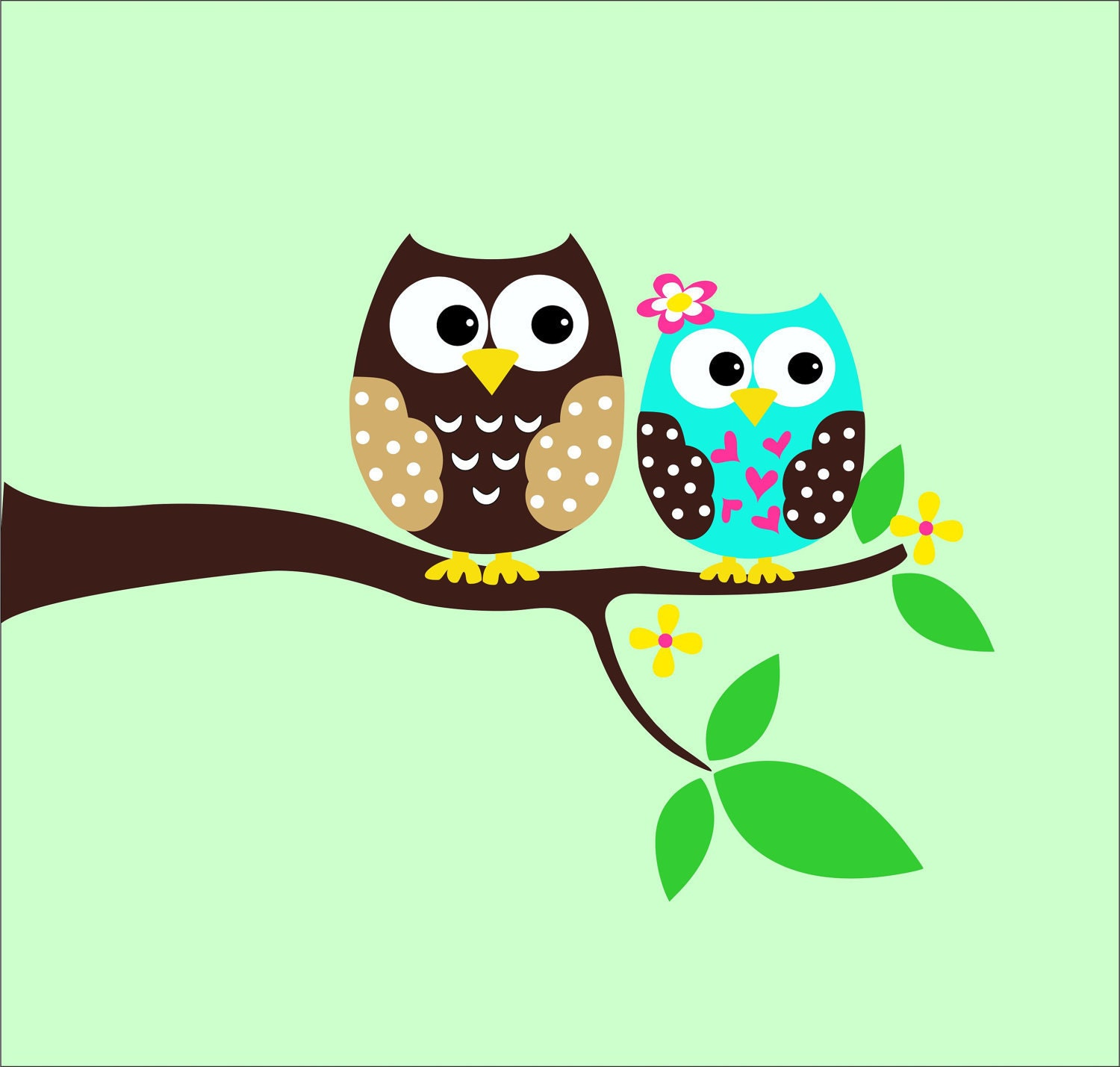 Owl wall decals childrens wall decals tree decal by lucylews for Childrens wall mural stickers