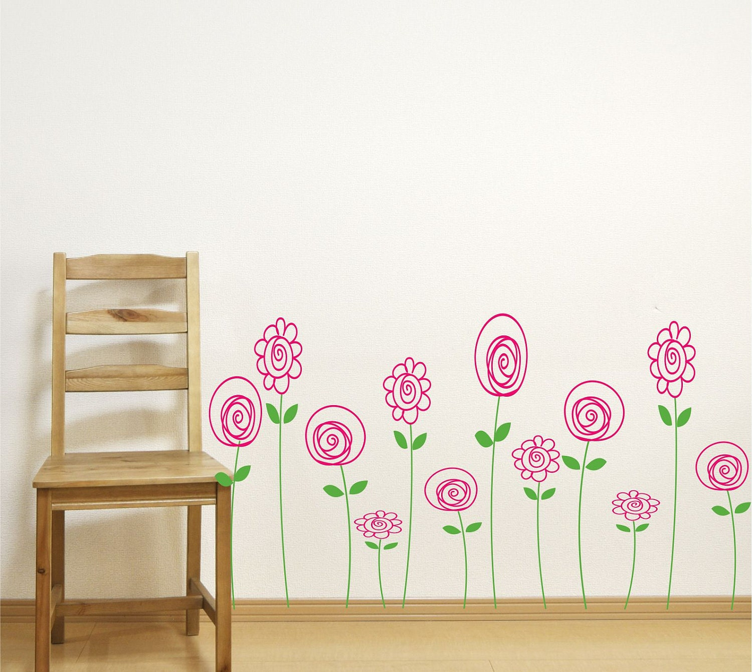 Childrens Wall Decals Flower Decals Doodle Flowers Kids