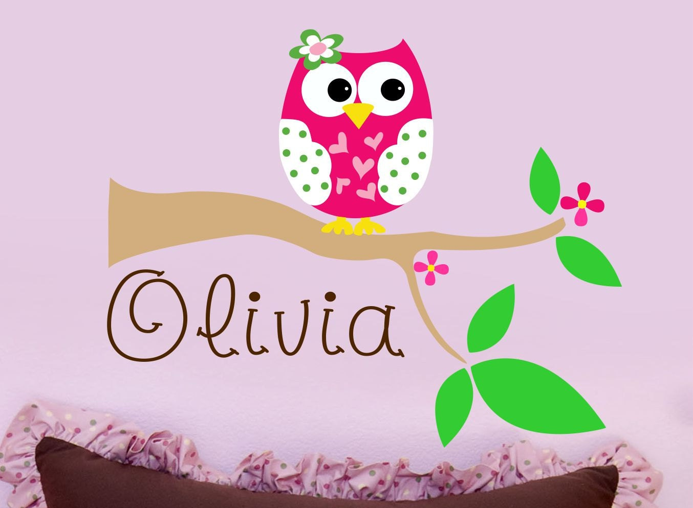 Custom Girls Name With Owl Wall Decal Personalized Name