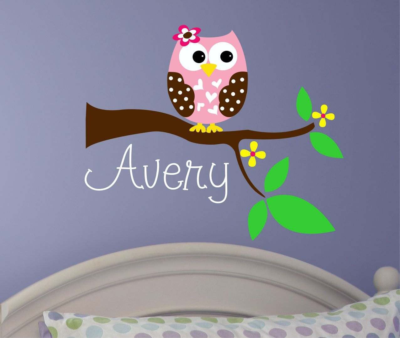 Baby girl wall decal name wall decal owl tree decal zoom amipublicfo Image collections
