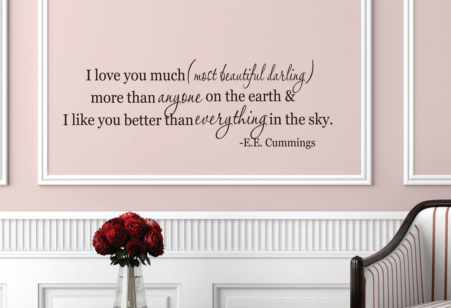 I love you much wall decal quote wall decal home decor for Dining room wall quote decals