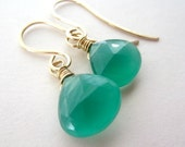 CLEARANCE Green Chalcedony Earrings, Heart Briolettes, LUXE AAA