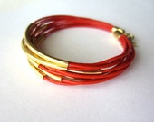 Red Leather Bracelet, Bright Red Leather, Gold Tube Beads - 9 Bangles