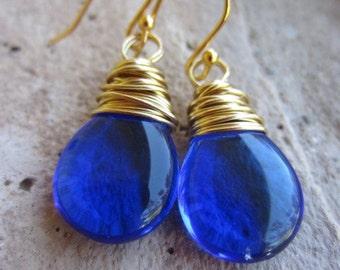 Sapphire Blue Earrings, Blue Teardrop Earrings, 14K Gold Earrings