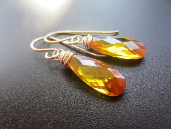 Yellow Topaz Amber Earrings, Sterling Silver Earrings