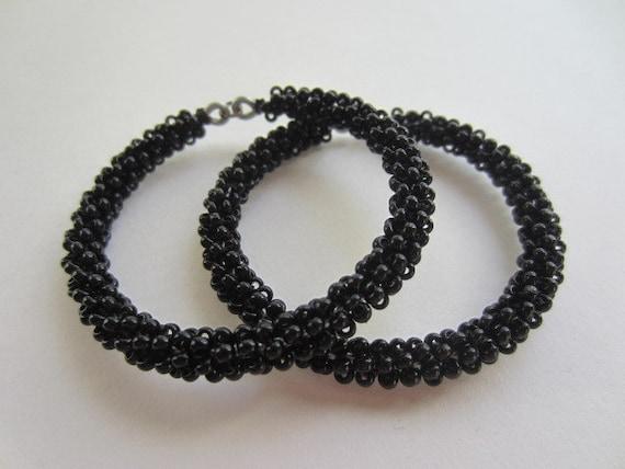 Black Beaded Hoop Earrings, Peyote Earrings, Beaded Earrings, Beaded Hoops