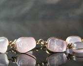 Antique Wired Rose Quartz Rose Gold Art Nouveau Bracelet