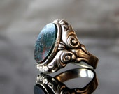 Antique Signet Ring Art Nouveau Heliotrope Bloodstone Solid Silver 800 Engraved