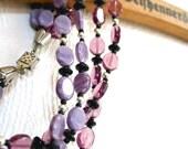 Vintage Necklace Czech Glass Beads Gablonz 3 Strands Purple Lilac Violet Black
