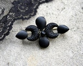 Victorian Mourning Brooch. French Jet. Mat