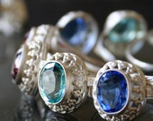 LAST ONE New Old Stock Art Deco Ring Sapphire German Glass Silver 800 Etsy Fashion Hot