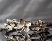 VICTORIAN Lucky Clover Bracelet Bangle. Solid Silver 800